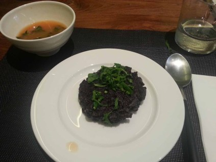 Lunch at 개미: squid ink pancake