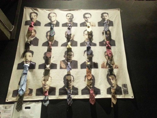 Various famous Koreans dressed in ties, at the Tie Museum in Seongbuk-dong