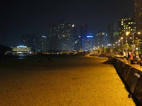 Haeundae beach as the moon sets