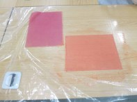 Sappan wood-dyed paper: above left, without mordant; right, with mordant