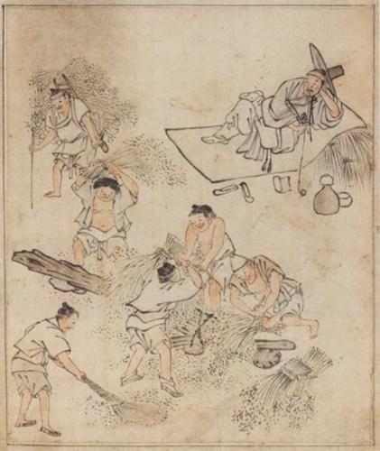 김홍도 (단원) Kim Hong-do (Danwǒn) (1745 – ca.1806): Threshing
