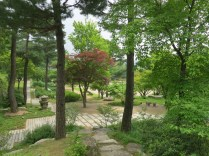 A view over the Main Garden from the wooded area by the teashop