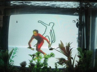 Dancer and Choreographer Merce Cunningham - on TV, in a fish tank - at the Paik Nam June Art Center, June 2014