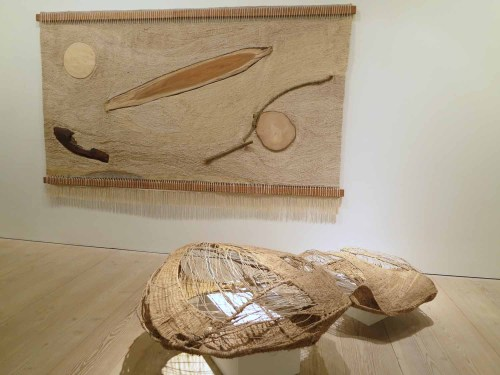Kang Soojin: The Waves in the Breeze (2015) Silk, jute, cotton, wood. In foreground, Hampi (2015) Wild silk and wire.