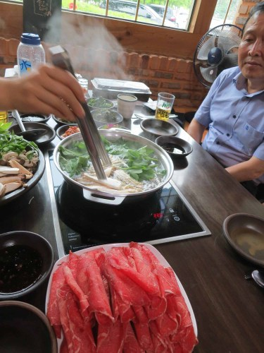 Dinner at the Shabu Shabu restaurant in the Donguibogam Village