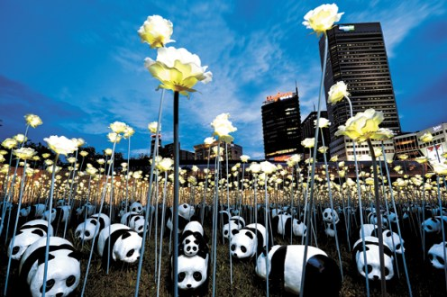 1,600 papier-mache pandas at the Dongdaemun Design Plaza - an initiative sponsored by Lotte