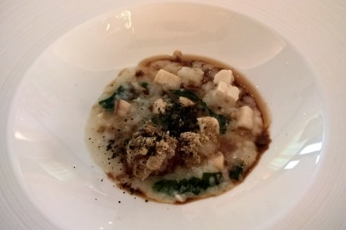 Korean porridge, mushroom, meatball and tofu