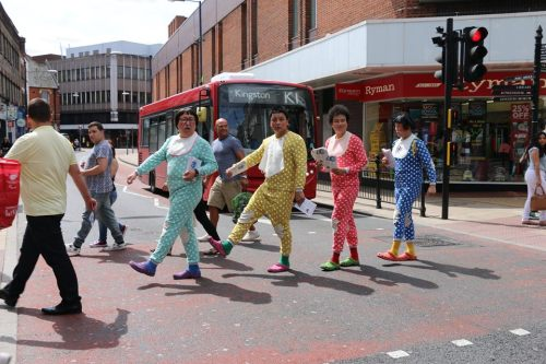 The Babbling Comedy team do their Abbey Road impersonation in Kingston