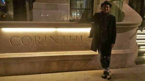 Hwang Jung-min poses outside the Corinthia this year