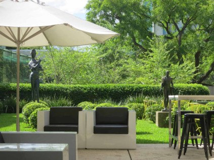 In the QAG's cafe / sculpture garden