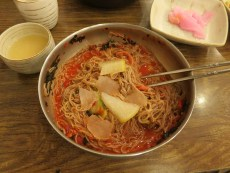 A dinner of buckwheat noodles