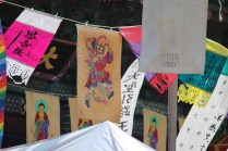 Festive paintings decorate the temple