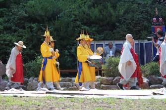 The procession arrives at its destination