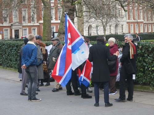 The UK Korean Friendship Association outside the US Embassy
