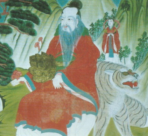 A reproduction of the Sanshin painting inside the shrine