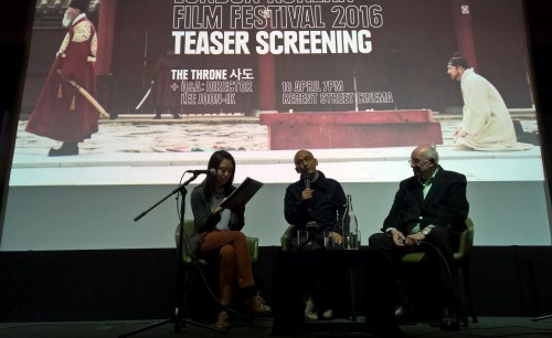 Lee Joon-ik with Tony Rayns and interpreter Rho Seh-hyun