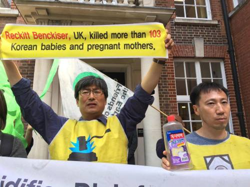 Campaigners outside the Reckitt Benckiser shareholders meeting on 5 May