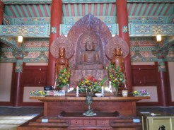 Inside the Daewungjeon or Geumdang Hall - the prayer hall containing the Buddha Triad