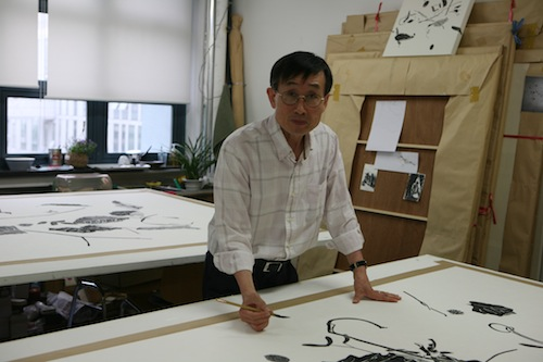Kim Jin Kwan in his studio