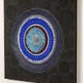 Kim Sea Joong: Reconstitution of space No.15 (Marquise de Rambouillet) Charcoal (2015). Aluminium net, acrylic, canvas, 150 x 150 cm. (Atelier Aki)