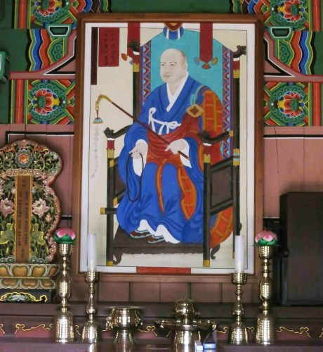 The portrait of Seosan Daesa, also known as Hyujeong, inside the Pyochungsa