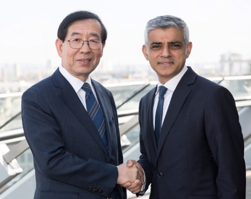 Park Wonsoon and Sadiq Khan