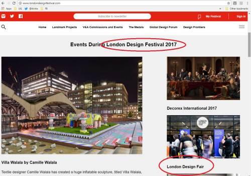 London Design Festival web page