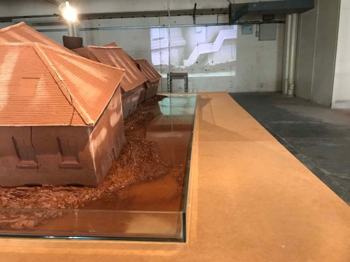 Kim Juree: Evanescent Landscape: Falcon Pottery Stoke-on-Trent (2017) - with a projection of her Hwigyeong work dissolving in the background