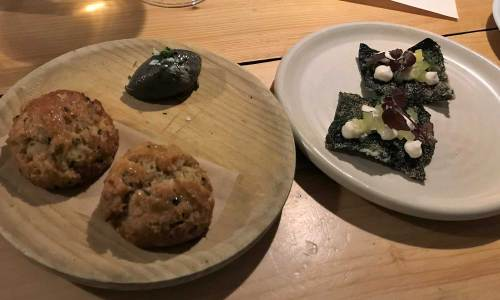 Seaweed crisps and scones with sesame butter