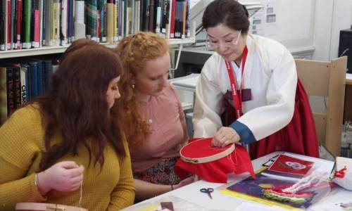 Korean embroidery class at Royal School of Needlework