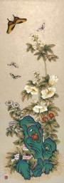 Kwoiseokhwajeopdo (flowers and butterflies on oddly shaped stone), by Yu Mira