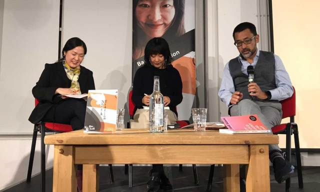 Bae Suah talking about North Station with Grace Koh (left) and Phillip Kim at Foyles