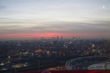 the glorious pink sky of the london sun set