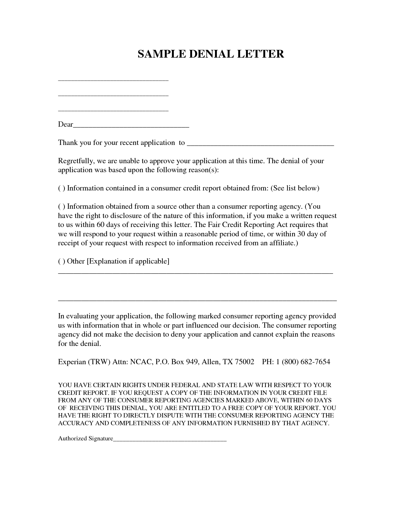 Free Denial Worksheet