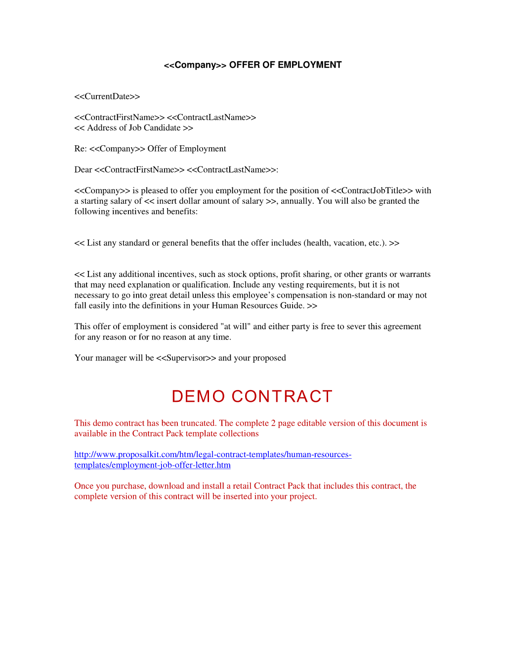 Offer Letter Of Employment Free Printable Documents