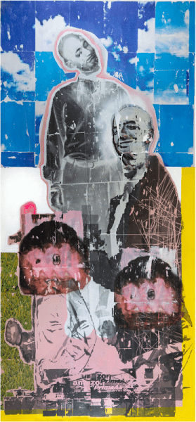 Andrew Dubach The Ascension of Jeff Bezos, 2020 Acrylic, aerosol and image transfer on canvas 86 in x 40 in © The Artist