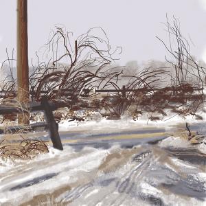 Caroline Leaf, Mattieson Parking Lot, 2020, Digital painting, © The Artist