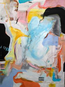 Lu Villanueva, C09, 2020, Acrylic, thread, fabric, oilstick, charcoal on canvas, 120 x 90 cm, © The Artist
