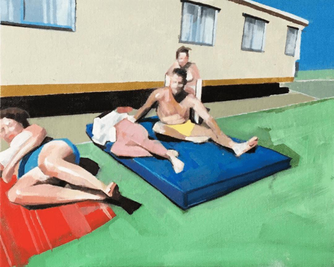 Sian Wroe Jones, Miners' Fortnight, Trecco Bay 1982, 2020, Oil on canvas board, 20 x 25.4 cm 8 x 10 in, © The Artist