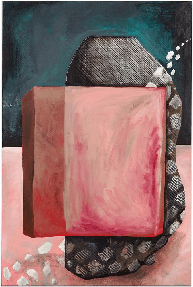 Christian Murzek, SEGLER, from the series: HASHLIFE_ODDITY, 2021, painting combined with silkscreen on canvas, 180 x 120 cm, £4,000, © The Artist, Photo by kunstdokumentation.com