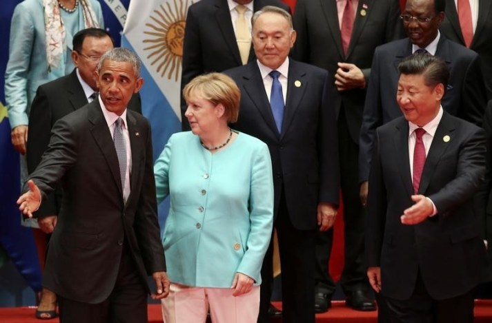 China's President Xi Jinping, U.S. President Barack Obama, Kazakhstan's President Nursultan Nazarbayev and Germany's Chancellor Angela Merkel attend the G20 Summit in Hangzhou, Zhejiang province, China September 4, 2016. REUTERS/Damir Sagolj