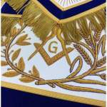 MASTER MASON Gold Embroidered Apron square compass with G Blue 03
