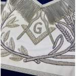 MASTER MASON Silver Embroidered Apron square compass with G Blue 03