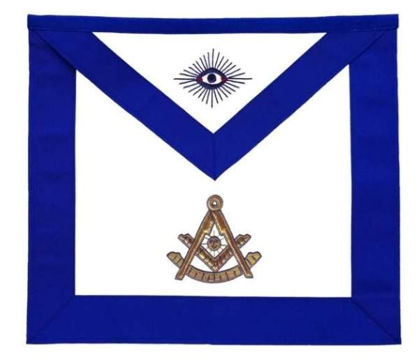 Masonic Blue Lodge Past Master Apron Golden Bullion Hand Embroidered