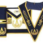 Master Mason Apron Hand Embroidery Apron Gauntlet and Collar Set Navy