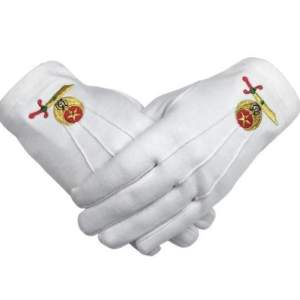 High Quality Masonic Shriner Emblem White Cotton Glove Masonic Glove