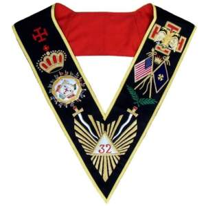 Masonic AASR Scottish Rite 32 Degree Collar Hand Embroidered - All Countries Flags