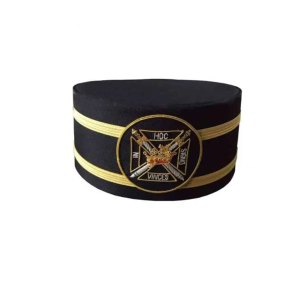Masonic Knights Templar Black Cap with Gold Braid