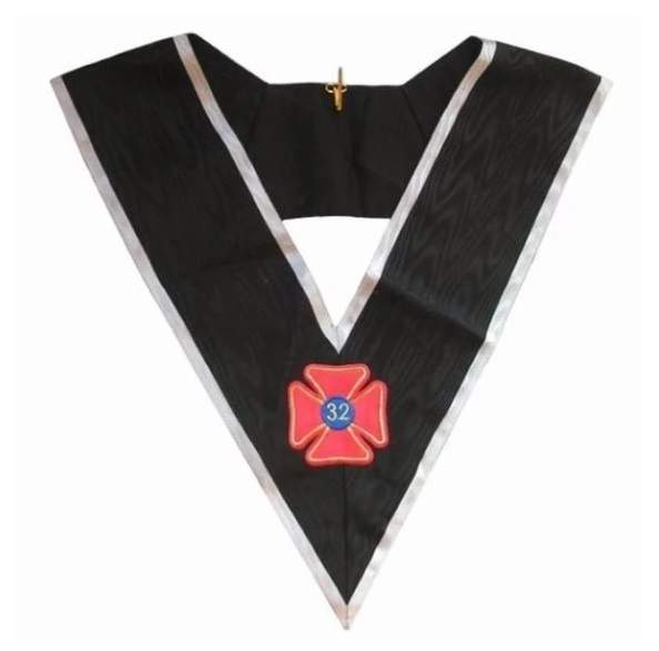 Masonic Officer's collar - AASR - 32nd degree - Black back