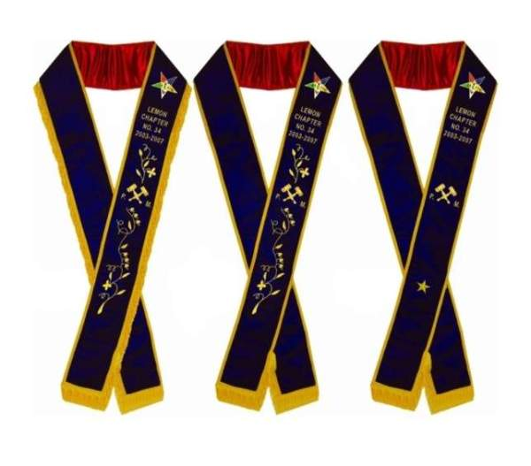 Past Matron - Hand Embroidered OES Purple Velvet Sashes